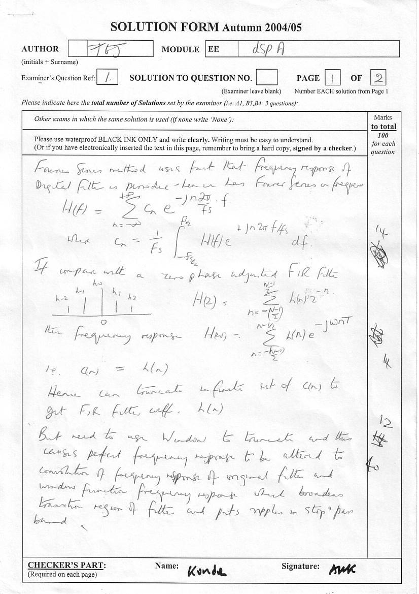 Digital Signal Processing - Exam Solutions
