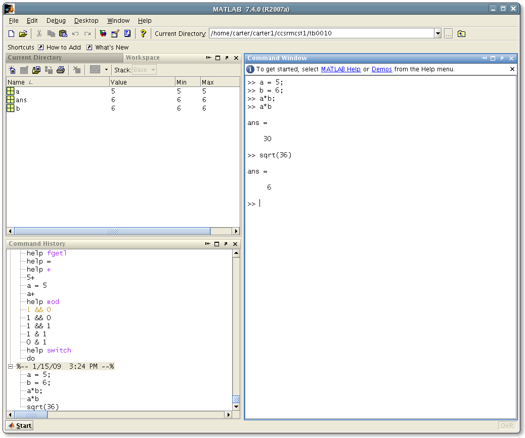 starting up matlab sqrt function being used in matlab